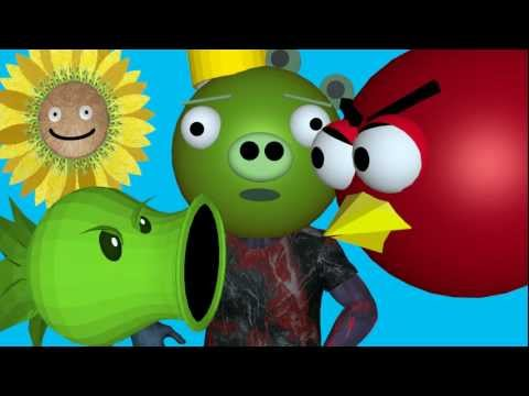 PLANTS VS. ZOMBIES vs. ANGRY BIRDS ? 3D animated Mashup - FunVideoTV -Style ;-))